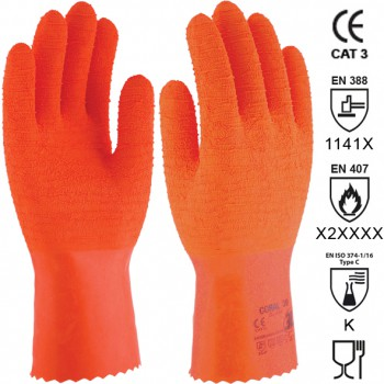 GANTS EN LATEX NATUREL AVEC SUPPORT COTON Mod  CORAL 30 (SL-430)