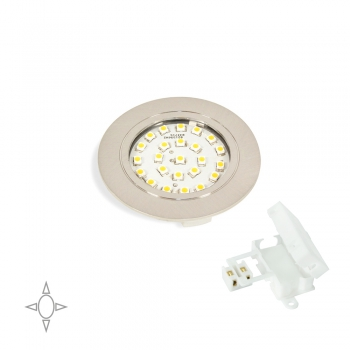 Spot LED, D. 65 mm, à encastrer, Lumière blanc natural, Plastique, Nickel satiné