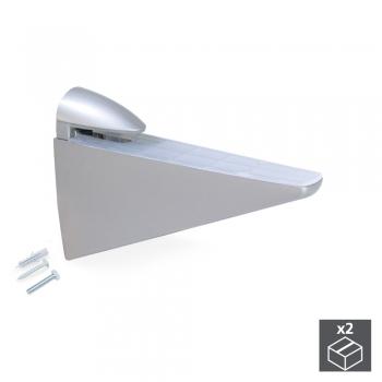 Support pour étagère en bois/verre, épaisseur 8 - 40 mm, Plastique et zamak, Gris métallisé, 2 ut.