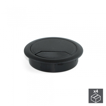 Couvercle passe-câbles, circulaire, D. 80 mm, à encastrer, Plastique, Noir, 4 ut.