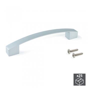Poignée pour meuble, entraxe 128 mm, Zamak, Gris métallisé, 25 ut.