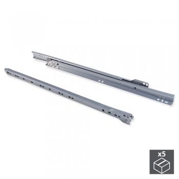 Paire de coulisses à roulettes pour tiroirs, fermeture avec chute, 300 mm, sortie partielle, Gris métallisé, 5 ut.