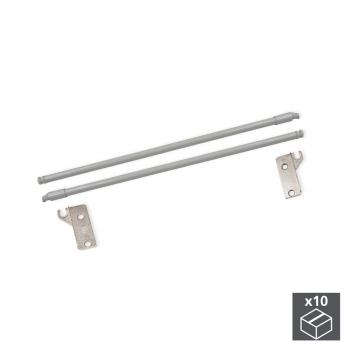 Paire de tringles de rehausse pour tiroir Ultrabox, D. 10 mm, prof. 450 mm, Acier, Gris métallisé, 10 ut.