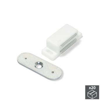 Fermeture magnétique pour portes, Acier et plastique, Blanc, 20 ut.