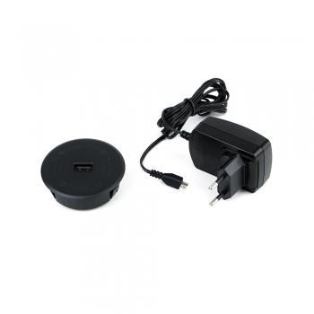 Chargeur sans fil, USB, à encastrer, D. 70 mm, Plastique, Noir