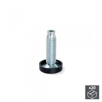 Vérin de réglage pour pied de meuble, réglage interieur, M10, D. 23 mm, hauteur 38 mm, Acier et plastique, 20 ut.