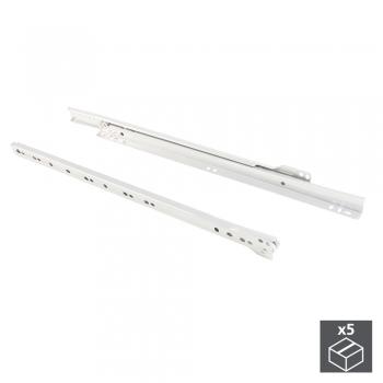 Paire de coulisses à roulettes pour tiroirs, fermeture avec chute, 450 mm, sortie partielle, Blanc, 5 ut.