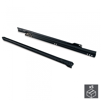 Paire de coulisses à roulettes pour tiroirs, fermeture avec chute, 350 mm, sortie partielle, Noir, 5 ut.