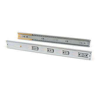 Paire de coulisses pour tiroirs, à billes, 45 x 400 mm, sortie totale, fermeture amortie, Zingué