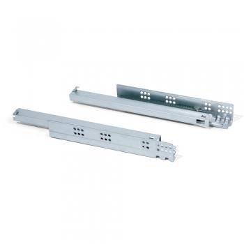 Paire de coulisses invisibles pour tiroir, à roulettes, 440 mm, extraction totale, fermeture amortie, Zingué