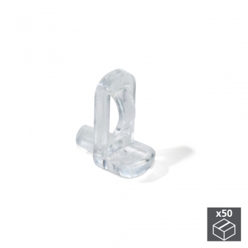 Support pour étagère en verre, D. 5 mm, Plastique, Transparent, 50 ut.