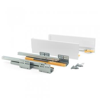 Kit de tiroir pour cuisine Concept, hauteur 105 mm, prof. 400 mm, fermeture amortie, Acier, Blanc