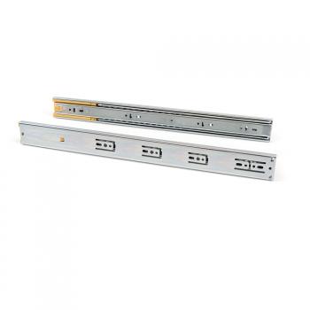 Pair de coulisses pour tiroirs, à billes, 45 x 550 mm, sortie totale, fermeture amortie, Zingé