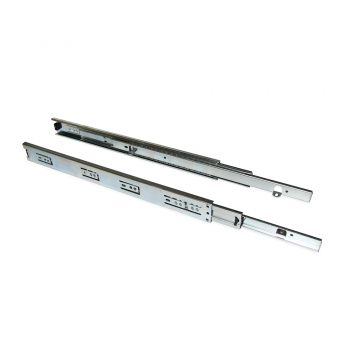 Pair de coulisses pour tiroirs, à billes, 45 x 400 mm, sortie totale, avec équerres, Zingué