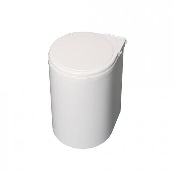 Poubelle de recyclage, 13L, fixation sur porte, ouverture couvercle automatique, Plastique, blanc.