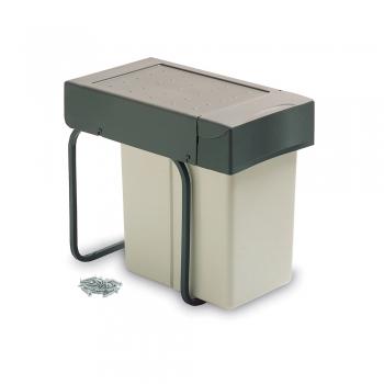 Poubelle de recyclage, 20 L, fixation inférieure, couvercle automatique, Plastique, Gris