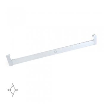 Barre de penderie pour armoire avec lumière LED, réglable 408-558 mm, 2,6 W-12V DC, détecteur de mouvement, Lumière Blanc naturel, Aluminium, Anodisé mat