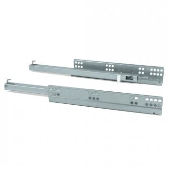 Paire de coulisses invisibles pour tiroirs, à roulettes, 490 mm, sortie partielle, système push, Zingué